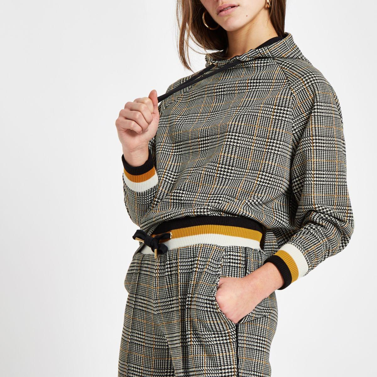 Petite brown check long sleeve hoodie