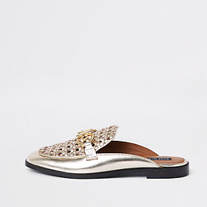 Gold woven leather backless loafers
