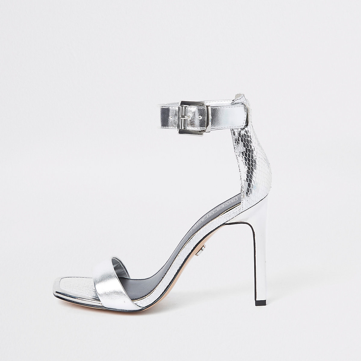 Silver barely there square toe sandals