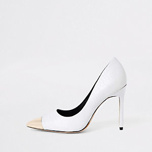 White pointed metal toe court shoes