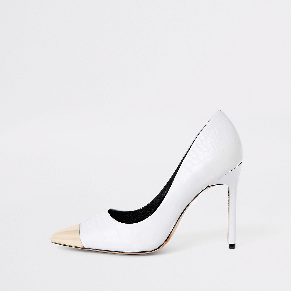 White croc pointed metal toe pumps