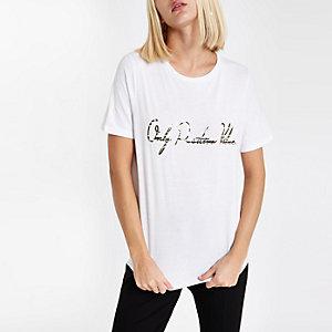 White 'Positive vibes' zebra print T-shirt