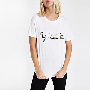 "Weißes T-Shirt ""Positive vibes"" mit Zebraprint"