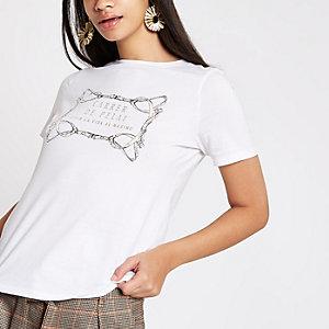 White 'carrer de pelai' print T-shirt