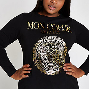Plus black 'Mon coeur' long sleeve T-shirt