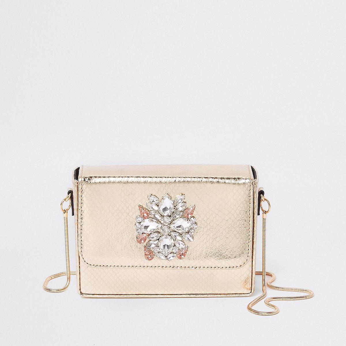 Gold embellished mini boxy cross body bag