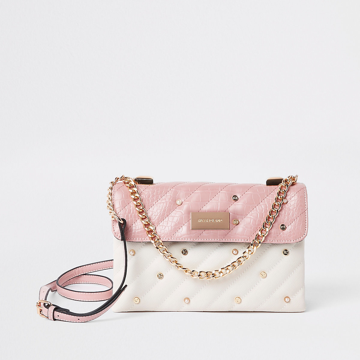 Pink quilted pearl flap front cross body bag
