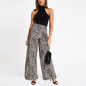 Pantalon large en velours imprimé léopard gris