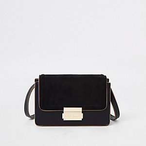 Black contrast mini cross body bag