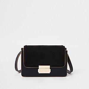 Kleine crossbodytas in zwart met contrast