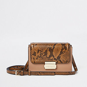 Beige snake print panel mini cross body bag