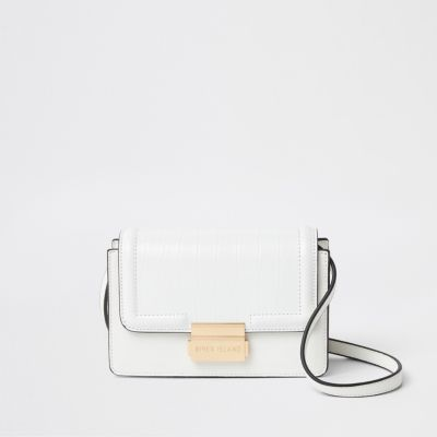 White Croc Embossed Mini Cross Body Bag by River Island