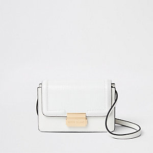 White croc embossed mini cross body bag