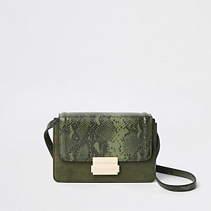 Khaki snake print panel mini cross body bag