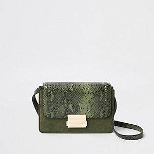 Mini sac à bandoulière à empiècement imprimé serpent kaki
