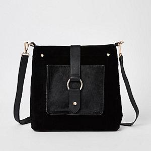Black leather hoop cross body bag