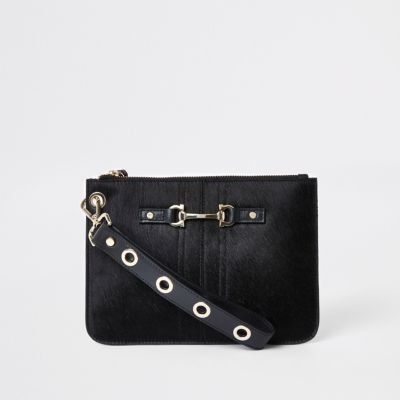 Black Leather Snaffle Pouch Clutch Bag by River Island