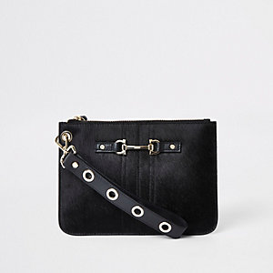 Black leather snaffle pouch clutch bag
