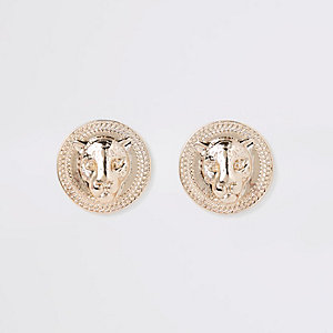 Gold tone jaguar stud earrings