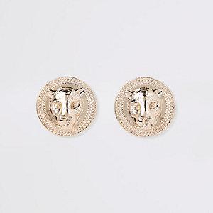 Boucles d'oreilles dorées motif jaguar