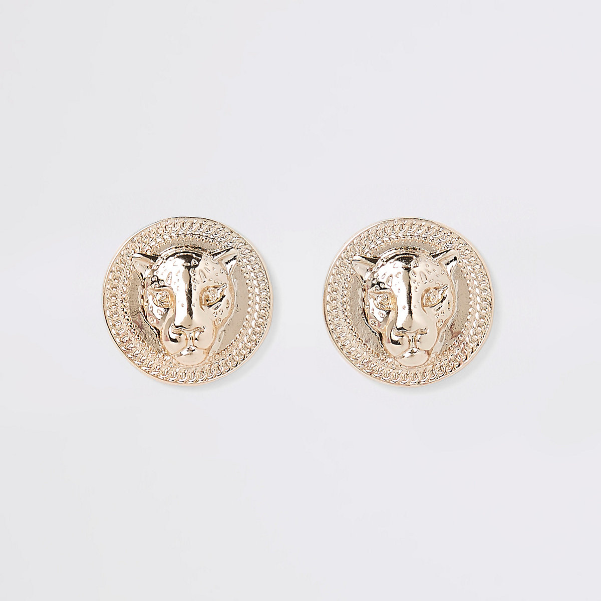 Gold tone jaguar stud earrings