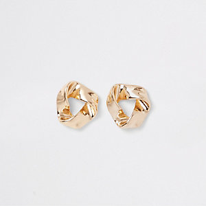 Gold colour wavy triangle stud earrings