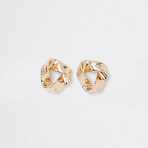 Boucles d'oreilles triangles dorées torsadées