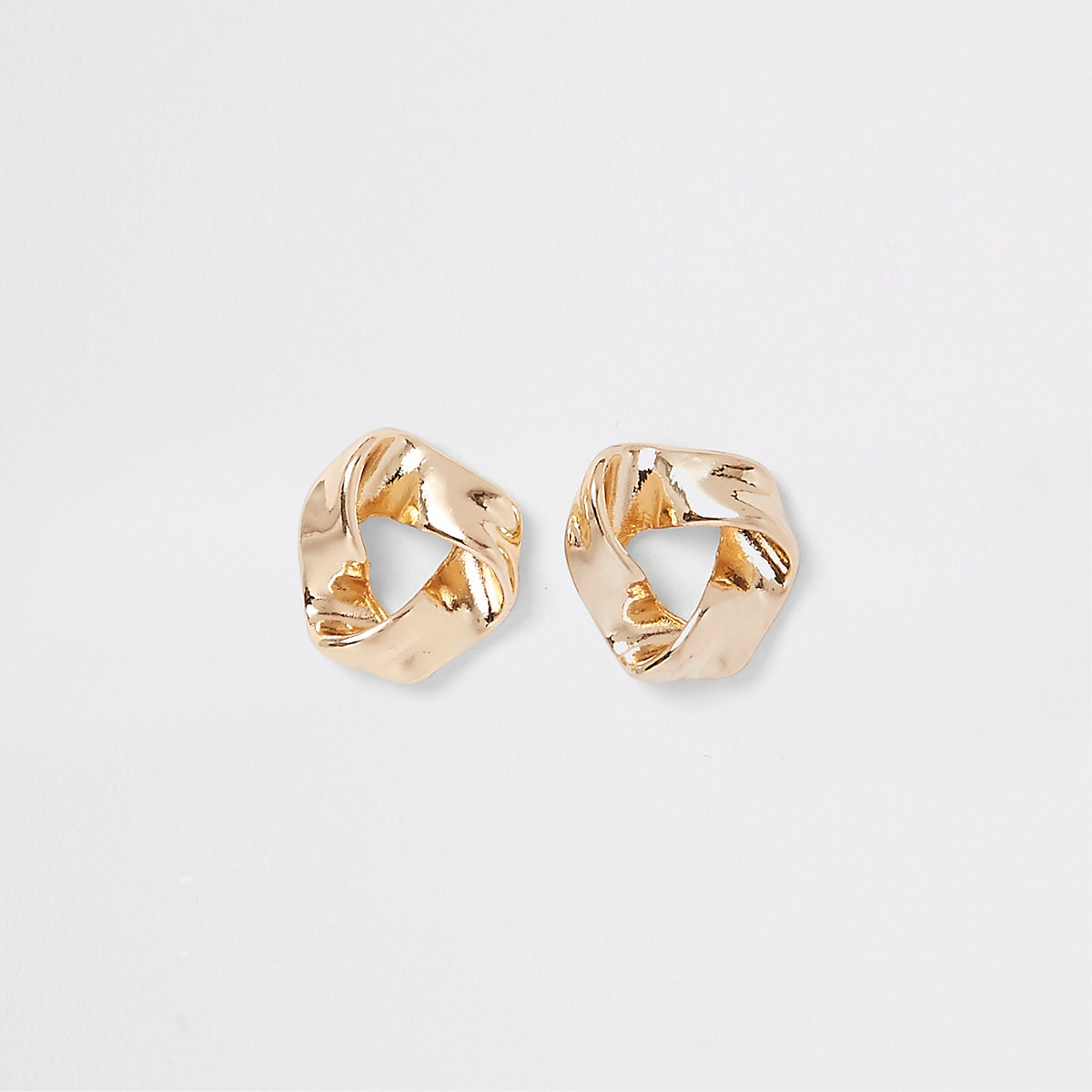 Gold tone wavy triangle stud earrings
