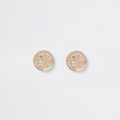 Gold Colour Coin Stud Earrings by River Island