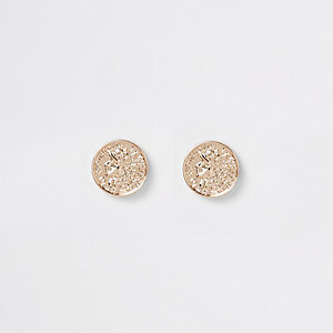 Gold tone coin stud earrings