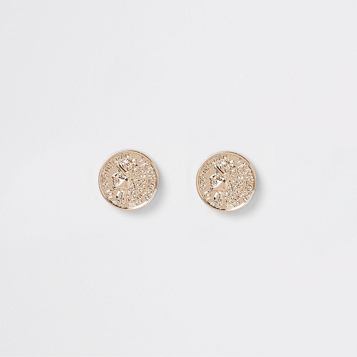 Gold color coin stud earrings