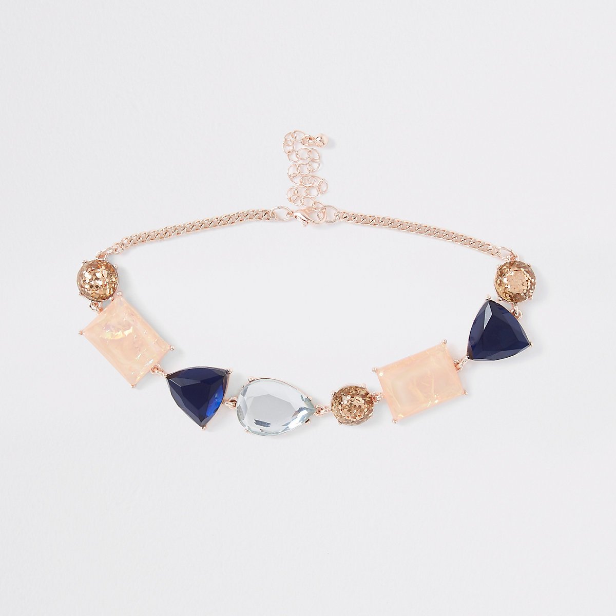 Rose gold mixed glitter stone choker