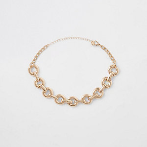 Gold tone chunky chain choker