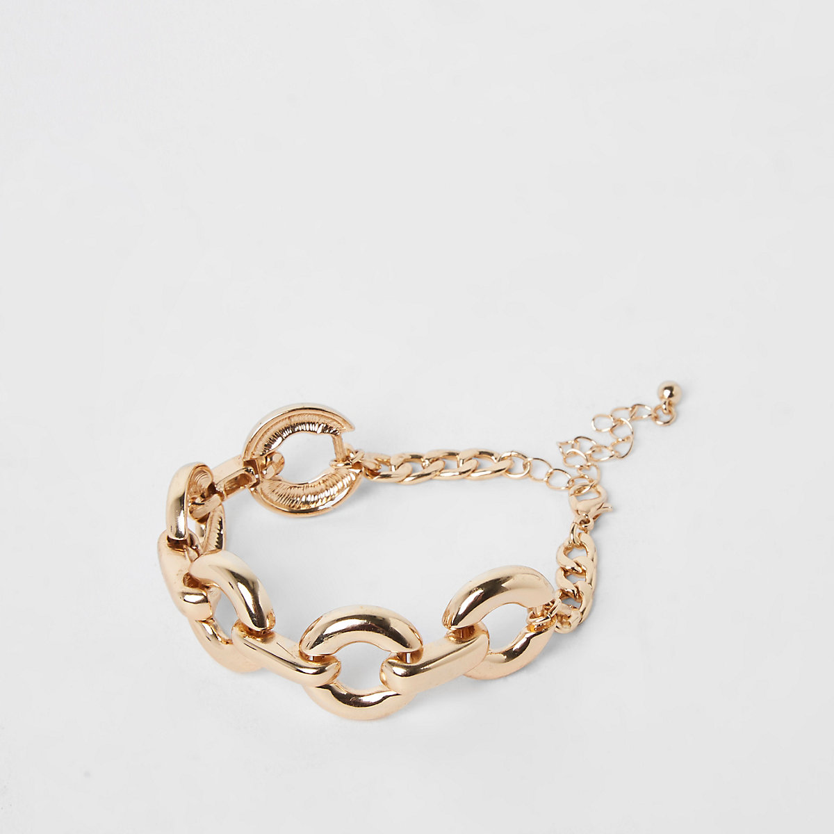 Gold colour curb chain bracelet