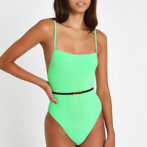 Maillot une-pièce vert vif texturé à ceinture