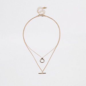 Gold tone T bar necklace multipack