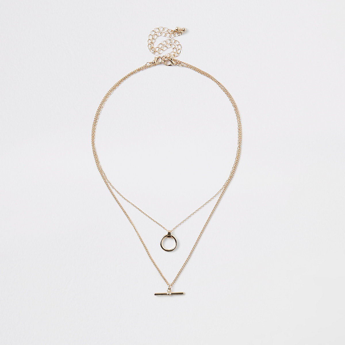 Gold color T bar necklace multipack