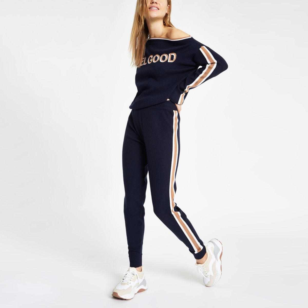 Navy 'feel good' knitted tape joggers