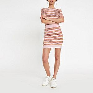 Pink printed jacquard mini skirt