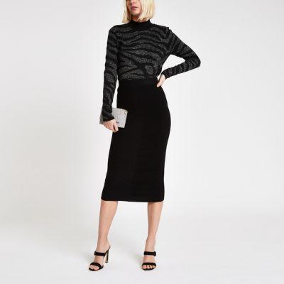 Black Knit Midi Skirt by River Island