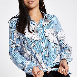 RI Petite - Overhemd met bloemenprint, strepen en strik voor