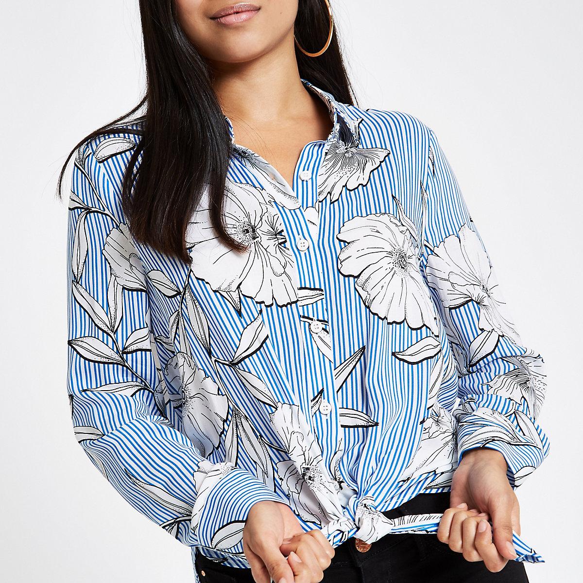 Petite floral stripe tie front shirt