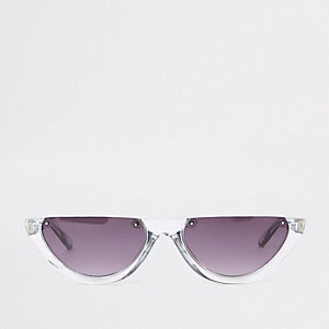 Grijze zonnebril met half montuur en getinte glazen