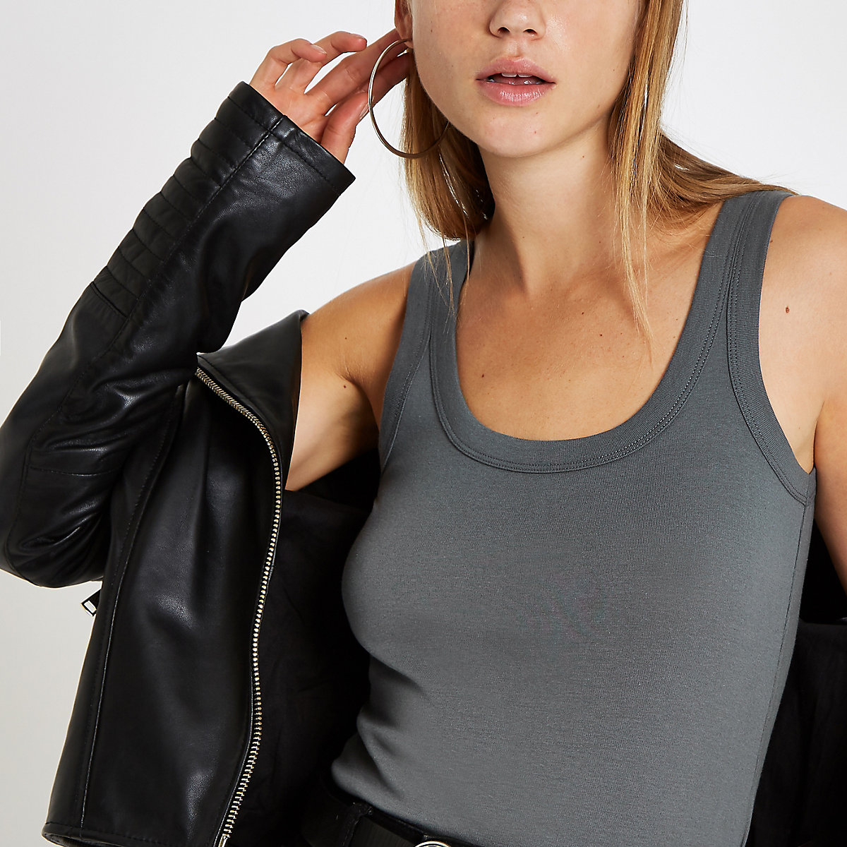 Grey scoop neck thick strap vest