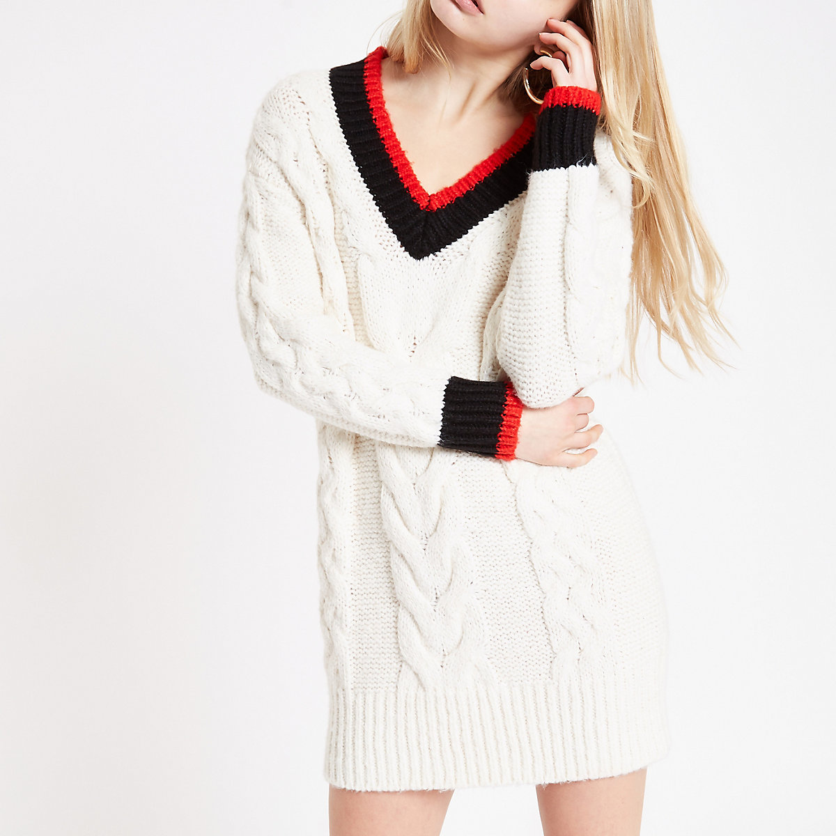 Cream V neck cable knit jumper dress