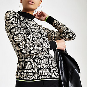 Cream snake print turtle neck top