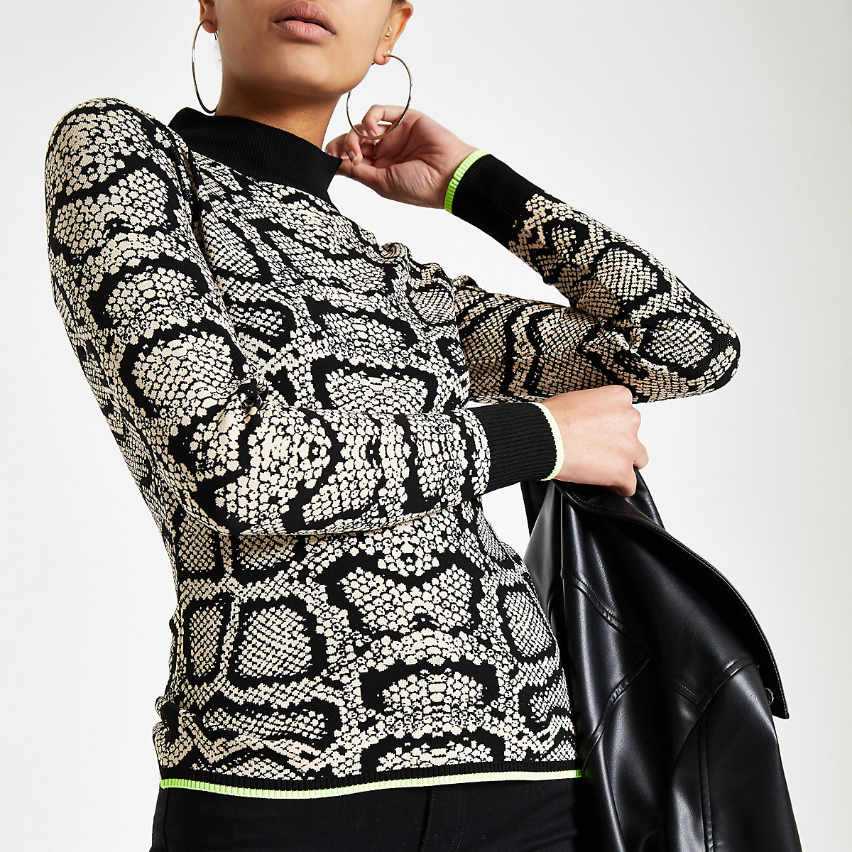 Cream snake print knit turtle neck top