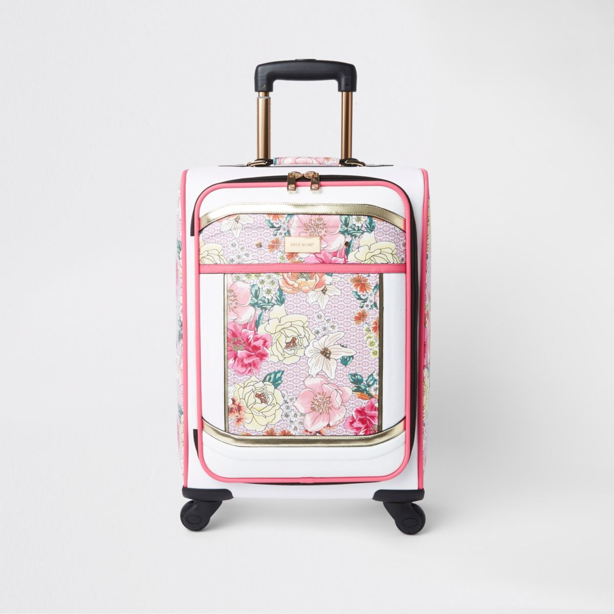 Light pink floral print four wheel suitcase