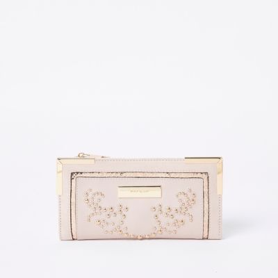 Pink Studded Foldout Purse by River Island