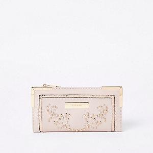 Pink studded foldout purse
